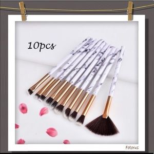 Other - White marble makeup brush set (10 piece)